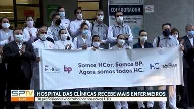 38 novos enfermeiros vão reforçar o atendimento as vítimas da Covid-19 no HC - Profissionais da saúde são de outros hospitais particulares da capital e vão atuar em leitos de UTI.