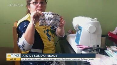 Ação solidária produz máscaras para serem distribuídas a pessoas de baixa renda - Ação solidária produz máscaras para serem distribuídas a pessoas de baixa renda