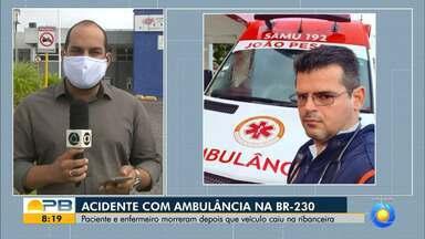 Ambulância capota e deixa enfermeiro e idosa com suspeita de Covid-19 mortos, na PB - Chovia muito no momento do acidente e, segundo a PRF, o motorista perdeu o controle da direção.