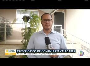 Covid-19: Cresce número de casos em Governador Valadares - Ao todo, são 44 casos confirmados, incluindo 5 óbitos.