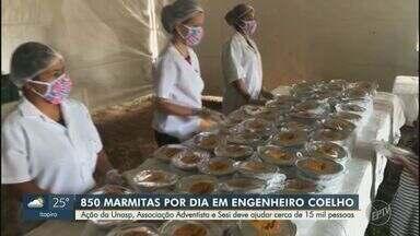Projeto vai distribuir refeições a pessoas em vulnerabilidade em Engenheiro Coelho - Realizada pelo Unasp, Sesi e Asa, iniciativa começou nesta segunda-feira e a expectativa é que 15,3 mil pessoas sejam atendidas, com uma média de 850 refeições diárias.