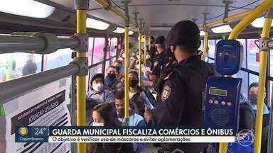 Guarda Municipal fiscaliza ônibus e comércio em Contagem - O objetivo é verificar uso de máscaras e evitar aglomerações.