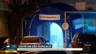 Prefeitura de São Gonçalo instala túnel de desinfecção em hospital da cidade - O assunto vei gerando polêmica, pois segundo a Vigilância Sanitária, não há comprovação técnica que essa higienização funcione no combate ao coronavírus.