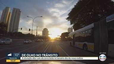 A situação do trânsito no terceiro dia do novo rodízio - Nossos repórteres percorreram ruas e avenidas da zona leste da Capital.