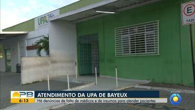 Denúncias de falta de médicos e insumos para atender pacientes em UPA de Bayeux - Confira os detalhes com o repórter Ítalo Di Lucena.