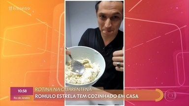 Romulo Estrela conta que tem cozinhado muito na quarentena - Ator fala sobre o período de quarentena ao lado da mulher e do filho e diz o que tem feito para manter a sanidade dele e da família
