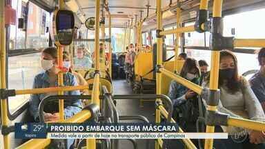 Campinas tem 1º dia de proibição de embarque em ônibus sem máscara - Motoristas vão distribuir 4 mil peças de tecido ao longo do dia em ação educativa. Quem se recusar a usar o equipamento, não poderá seguir viagem.