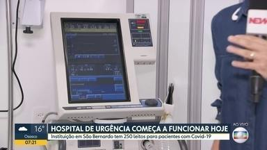São Bernardo inaugura hospital que atenderá, por enquanto, pacientes de Covid-19 - Capacidade de leitos na cidade dobra com o novo equipamento.