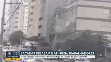 Sacadas de prédio em obras desabam e dois morrem em Itapema - Sacadas de prédio em obras desabam e dois morrem em Itapema