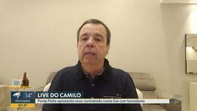 Ponte Preta apresenta Camilo em live com torcedores - Novo reforço da Macaca respondeu a perguntas de sócios-torcedores em bate-papo virtual.