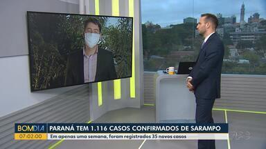 Paraná tem 1.116 casos confirmados de sarampo - Em apenas uma semana foram registrados 35 casos.