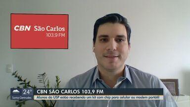 Alunos da USP recebem kit com chip para celular ou modem portátil - O apresentador da CBN Flávio Mesquita explica a ação.