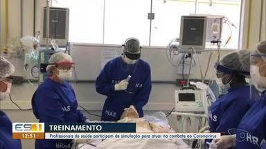 Profissionais da saúde participam de simulação para atuar no combate de Covid-19, no ES - Treinamento foi feito em São Mateus.