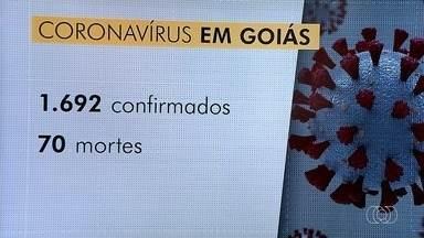 Goiás tem 70 mortes confirmadas por coronavírus - Número de casos confirmados é de 1.692.