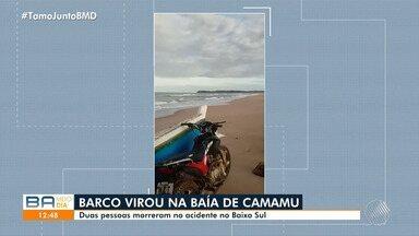 Duas pessoas morrem em acidente marítimo na Baía de Camamu, no Baixo Sul baiano - O barco virou e a sobrinha do casal, de 17 anos, sobreviveu ao acidente.