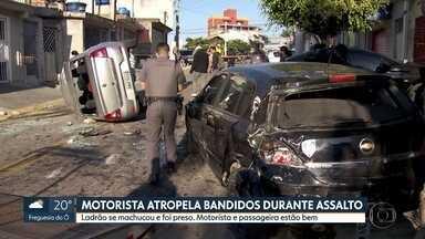 Tentativa de assalto termina em acidente de trânsito em Taboão da Serra - Motorista atropelou bandidos na Grande SP.