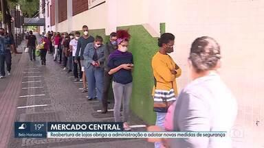 Medidas de segurança no Mercador Central - Abertura de mais lojas obrigou a administração a adotar novas ações de proteção aos consumidores contra o coronavírus.