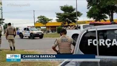 PM barra carreata que pedia reabertura do comércio em Araguaína - PM barra carreata que pedia reabertura do comércio em Araguaína