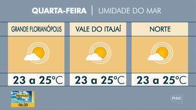 Confira a previsão do tempo para esta quarta-feira em SC - Confira a previsão do tempo para esta quarta-feira em SC