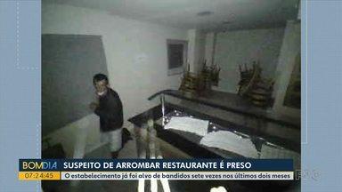 Suspeito de arrombar restaurante é preso - O estabelecimento foi alvo de bandidos 7 vezes nos últimos 2 meses.