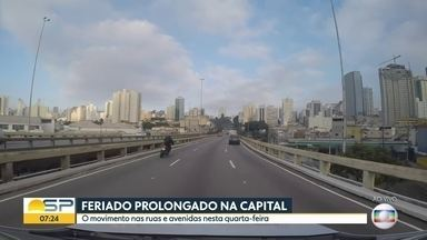 Feriado prolongado na capital - O movimento nas ruas e avenidas nesta quarta-feira.