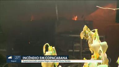 Supermercado pega fogo em Copacabana - O estabelecimento fica na rua Barata Ribeiro.