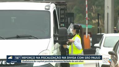 Reforço na fiscalização da divisa com São Paulo - Prefeitura da capital paulista decretou feriado de 6 dias.