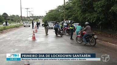 1° dia de lockdown em Santarém: barreiras são montadas para orientar a população - Santarenos parece que não entenderam o objetivo do bloqueio total, muitos saíram de casa nesta terça (19).