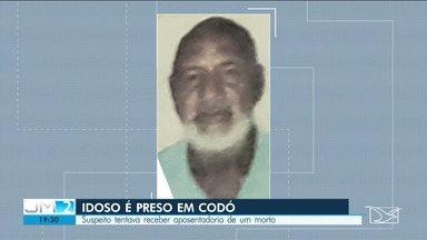 Idoso é preso em Codó suspeito de tentar receber aposentadoria de um morto - Na delegacia, o idoso disse ser inocente e que o autor da fraude seria uma outra pessoa.