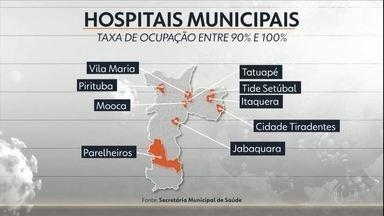 Pelo menos 23 unidades da rede pública de SP trabalham com ocupação no limite - Os hospitais de campanha também começam a sentir a dificuldade da situação.