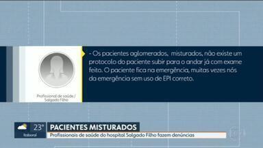 Funcionários do Salgado Filho denunciam aglomeração de pacientes no hospital - Funcionários do hospital municipal Salgado Filho denunciam que além de faltar EPI´s, precisam lidar com pacientes contaminados com a Covid -19 estão misturados com outros pacientes.