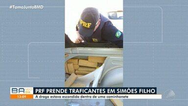 Homem é preso após polícia achar mais de 70 kg de drogas escondidos em caminhonete na BA - Prisão e apreensão ocorreram na BR-324, em Simões Filho, na região metropolitana de Salvador. Policiais acharam 48 kg de maconha e 23 Kg de cocaína.