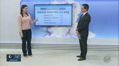 Veja a previsão do tempo para esta quarta-feira (27) na região de Ribeirão Preto - Temperaturas continuam baixas por causa de massa de ar frio.