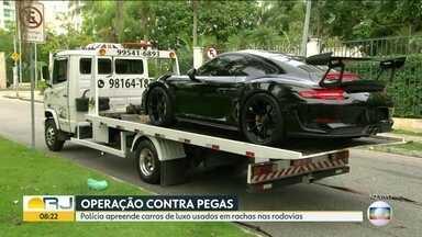 Polícia Rodoviária Federal faz operação contra pegas em estradas - Polícia tenta desarticular grupo que usa carros de luxo em disputas nas estradas.