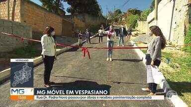 MG Móvel acompanha entrega de obra em Vespasiano - Moradores pediram e a rua Pedro Nava, no bairro Pouso Alegre, recebeu obras de infraestrutura e pavimentação.