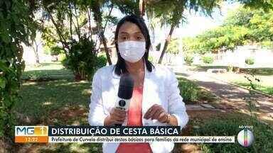 Prefeitura de Curvelo distribui cestas básicas para famílias de alunos da rede municipal - Medida é para amenizar os problemas causados pela pandemia.