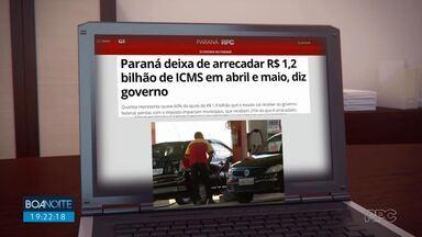Paraná deixa de arrecadar R$ 1,2 bilhão de ICMS em abril e maio, diz governo - Quantia representa quase 60% da ajuda de R$ 1,9 bilhão que estado vai receber do governo federal.