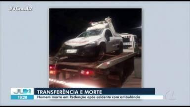 Homem morre em transferência para hospital do Marabá - Vítima estava internado no Hospital Regional do Araguaia, em Redenção. A ambulância onde ele estava capotou.