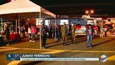 Campanha Junho Vermelho incentiva doação de sangue em meio à pandemia - Escola Preparatória de Cadetes do Exército, em Campinas (SP), recebeu iluminação especial devido à iniciativa.