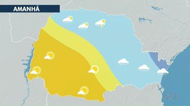 Tempo deve voltar a secar no Paraná - Nuvens carregadas permanecem em algumas regiões do estado.