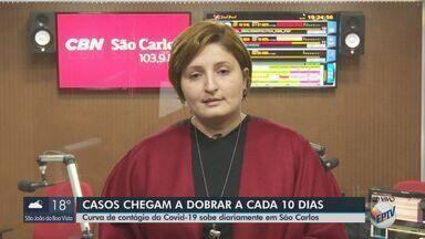 Curva de contágio do coronavírus sobe diariamente em São Carlos - Veja as informações com a repórter da CBN Marina Lacerda.