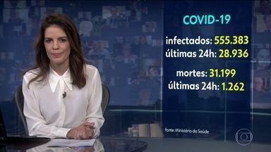 Brasil ultrapassa a marca de 31 mil mortos pelo novo coronavírus - Em todo o planeta, só existe um país em que o coronavírus produziu número maior de doentes do que o Brasil: os Estados Unidos. Esta terça-feira também marca o maior aumento de número de óbitos em 24 horas: 1.262.
