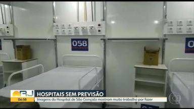 Imagens mostram muito trabalho por fazer no Hospital de Campanha de São Gonçalo - A unidade ainda não foi inaugurada.