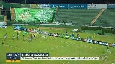 Guarani e Júnior Todinho encerram as negociações sem acordo por renovação - Vice-artilheiro do Campeonato Paulista, atacante fica livre para procurar novo clube.