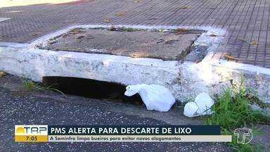 Prefeitura de Santarém alerta para o descarte irregular de lixo - Seminfra está realizando limpezas de bueiros para evitar alagamentos.
