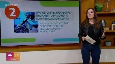 OMS vai retomar os testes com a hidroxicloroquina - Cientista da entidade alertou, entretanto, que mais mudanças podem ocorrer no futuro. Testes com a substância foram suspensos na semana passada.