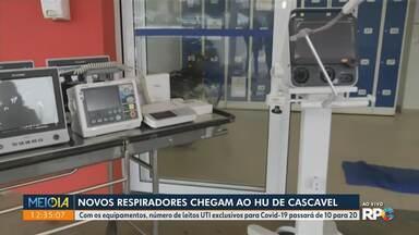 Novos respiradores chegam ao HU de Cascavel - Com os equipamentos, número de leitos UTI exclusivos para Covid-19 passará de 10 para 20