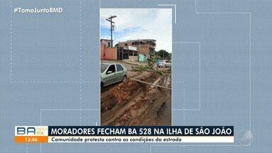 Comunidade de Ilha de São João protesta contra as condições da estrada da BR-528 - Confira.