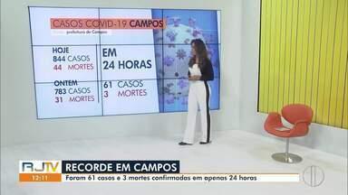 RJ1 traz a evolução de casos de Covid-19 em Campos, no RJ - Município já contabiliza mais de 840 casos confirmados.