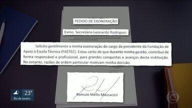 Presidente da Faetec pede exoneração após denúncias de irregularidades - Rômulo Massacesi estava afastado desde a abertura de uma sindicância para apurar eventuais irregularidades nas contratações de empresas.